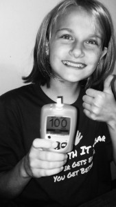 Showing of a perfect 100!  This doesn't happen very often! We check blood sugars 12 times a day.